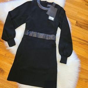 The Kooples Leather Trim Knit Dress